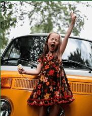 Girl raising fist in air